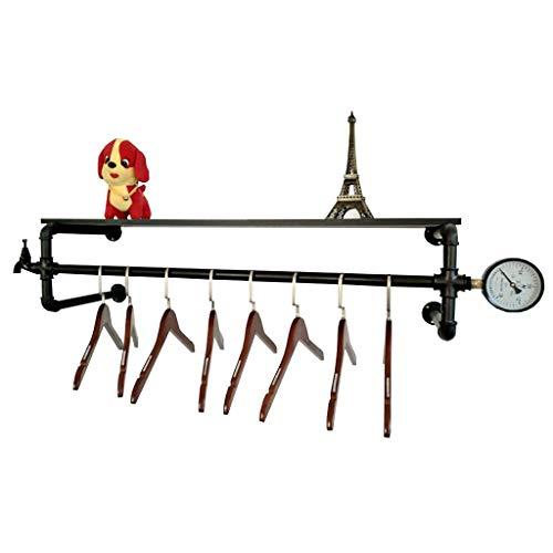 Cdbl-Iron kleding planken Vintage Iron Water Pipe Kleding Hanger Kleding Display Kleding Plank Kleding Rek Ophangen Op De Muur Boekenplank 4 Maten (Kleur: Zwart, Grootte: 120 × 28cm) Kleren haak