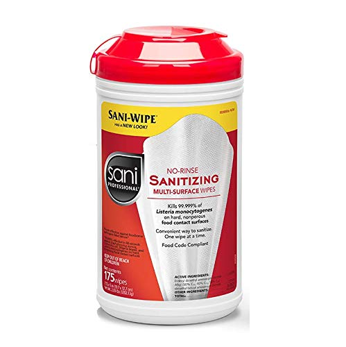 PDI - Professional Disposables, Intl.-P66784 Sani-Wipe Non-Rinse Food Contact Hard-Surface Sanitizing Wipe, 7.75' x 5', 175/can