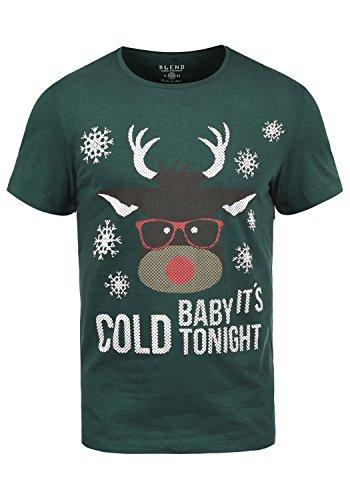 Blend X-Mas T-Shirt Di Natale Maglietta A Manica Corta Da Uomo Con Girocollo In Cotone 100%, Taglia:M, Colore:Pomp Red/Deer (73843)