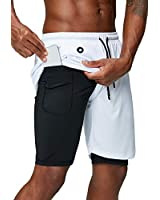 Pinkbomb Men's 2 in 1 Running Shorts Gym Workout Quick Dry Mens Shorts with Phone Pocket (White, Medium)