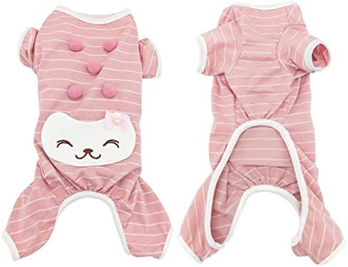 CAISANG Pet Pajamas Jumpsuit Striped Dog Shirts for Small Medium Puppy T Shirts Soft Cotton product image
