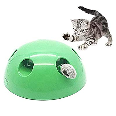 katsuya Pop and Play Cat Toy, 360° Rotation Cat Interactive Toys Electronic Smart Random Moving Stimulates Cat's Senses Funny Pet Toys (Green)