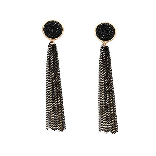 Show face thin crystal earrings temperament simple long style Korean tassel personality wild student earrings female
