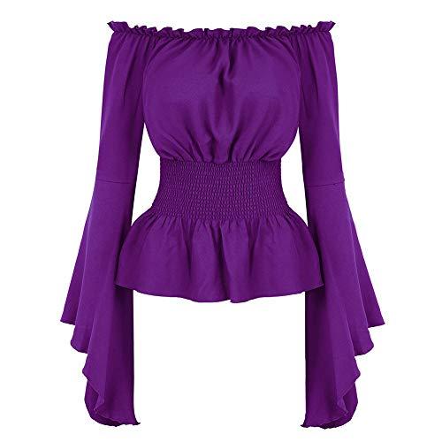 YunFeel Damen Gothic Renaissance Bluse Langarm Off Shoulder Mittelalterliche viktorianische Kostüm Shirt Boho Tops