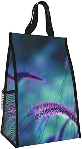 Bolsa de aislamiento plegable, bolsa de almuerzo portátil de cola de perro púrpura, bolso de picnic de gran capacidad para viajes de oficina de trabajo