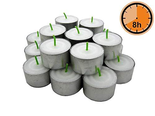 Teelichter Gies Weiß, grüner Docht, 8 Stunden Brenndauer, 50er Beutel, Metallhülsen, Durchmesser 38 mm, Gastronomie, RAL Qualität