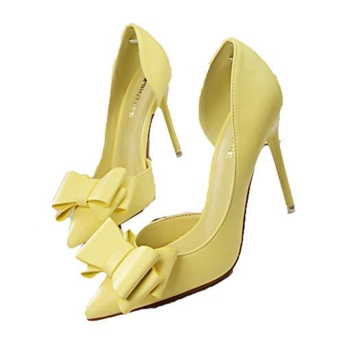 Damen Schuhe mit hohen Absätzen Spitzen Zehen einfarbig Leder einfachen Stil Bogen Knoten Sweet Style Slip-On Brautkleid Schuhe