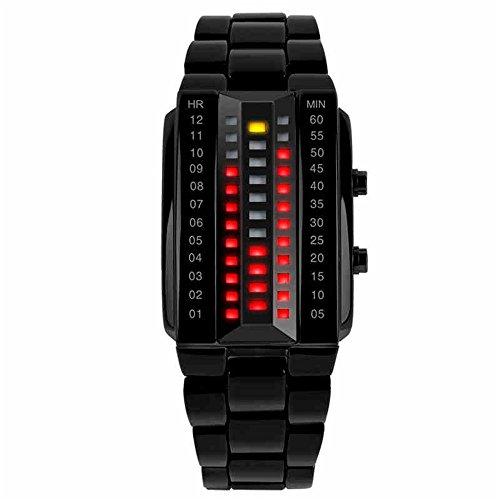 TONSHEN Herrenuhr Sportuhr Digitaluhr Cool Schwarz Edelstahl Binäre Uhr Rot und Gelb LED Licht Kleidung Rechteck Lünette Kalender Uhren für Herren