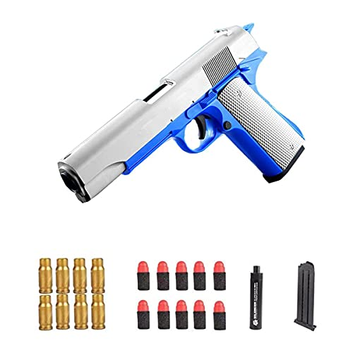 M1911 Shell Ejection Soft Bullet Toy Gun,Toy Gun 1911 with Ejecting Magazine and Bullets, and Pull Back Action,with Magazine and Bullets Silencer,1: 1 Size Boys Toy Guns.Children's Gift (Blue)
