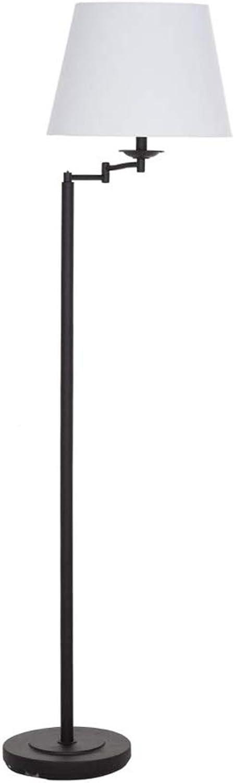 Ravenna Home Dark Bronze Swing Arm Floor Lamp, 58 H, With Bulb, Off-White Linen Shade