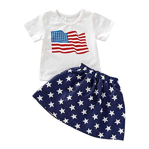 Julhold Peuter Kid Baby Meisje 4 juli Onafhankelijkheid Dag Ster Print Blauwe Rok en Gestreepte Patriottische Wit Shirt Set