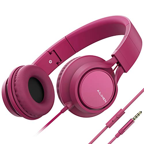 AILIHEN MS300 Wired Headphones with Microphone Folding Lightweight Headset for Cellphones Tablets Smartphones Chromebook Laptop Computer Zoom Skype Mp3/4 (Rose)