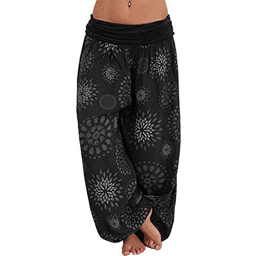 OEAK Damen Haremshose Lange Hosen mit Bedrucken Pumphose Yogahose Aladinhose Baggy Hose leichte Ballonhose elastischer Bund