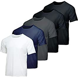 5 Pack: Youth Dry-Fit Moisture Wicking Active Athletic Performance...