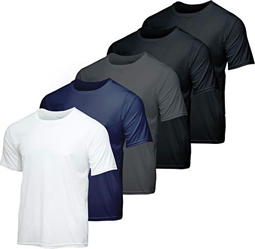Men's Quick Dry Fit Dri-Fit Short Sleeve Active Wear Training Athletic Essentials Crew T-Shirt Fitness Gym Workout Casual Undershirt Top - 5 Pack,Set 4-L