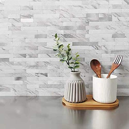 DIH Peel and Stick Backsplash White Marble Tile, Self-Adhesive PVC and Silver Metal Tile for Accent Wall, Kitchen Backplash, Bathroom Wall in Volakas Linear (5)