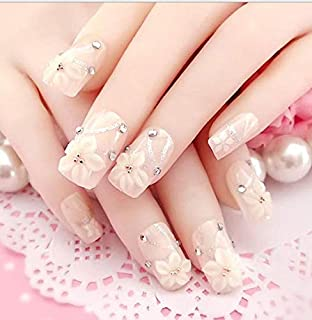 TBOP FAKE NAIL art reusable French long Artifical False nails 24 pcs set flower in Beige color