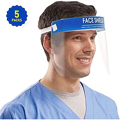 5PCS Face Shield, Medical Protect Eyes and Full Face, Anti-fog Dental Face Shield with Protective Clear Film Elastic Band and Comfortable Sponge for Men and Women (FDA Approved & Fast Shipping)