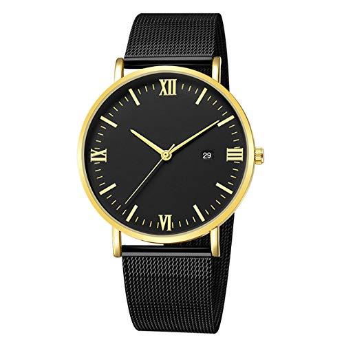 YOUZHA Relojes Cuarzo Ultrafino Ocio Acero Inoxidable Dial Banda de Cuero Reloj de Pulsera Hombres Relojes-D