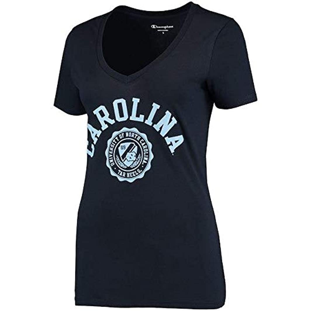 かすかな沿ってあいまいChampion Champion North Carolina Tar Heels Women's Navy College Seal V-Neck T-Shirt スポーツ用品 【並行輸入品】