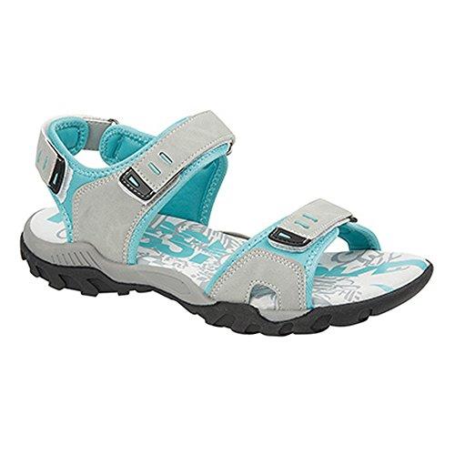 PDQ Damen Sport Sandale/Trekkingsandale mit Klettverschluss (6 UK/39 EU) (Hellgrau/Mint)