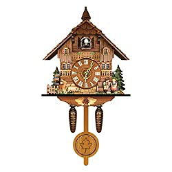 H-ENY Wood Cuckoo Clock, Chalet Wall Sound Cuckoo Clock, Cuckoo Shaped Clock Antique Pendulum for Kids Room Decor Wall Art Living Room Kitchen Home Decoration,Cl010