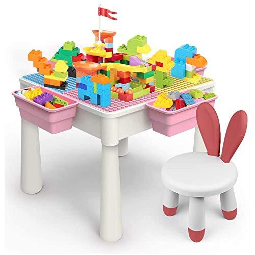 5-in-1 Multi Kids Activity Table Set mit 1 Chair 228 Stück Building Blocks und Slides Wasser Tabelle Sand Tabelle Esstisch Studie Tabelle Storage Table Bausteine Tabelle mit 4 Aufbewahrungsboxen