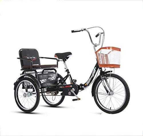 Bicicleta Triciclo Para Adultos Con 3 Ruedas, Pedales Anchos, Asiento Trasero Ancho,...