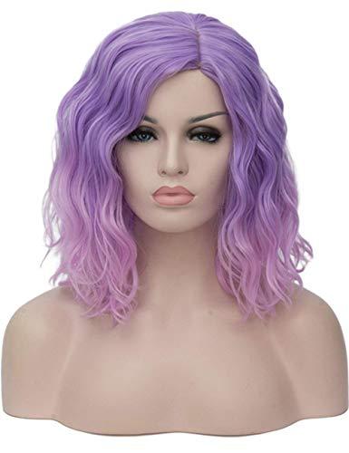 SYMALL 14' 36CM Peluca corta rizada de pelo medio largo rizado ondulado para mujer cosplay fiesta peluca sintética de moda calor resistente, (morado a rosa)