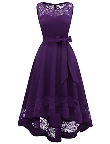 Damen Elegant Kleider Spitzenkleid Langarm Cocktailkleid Knielang Rockabilly Kleid Vokuhila Hi-Lo Partykleider Grape XS