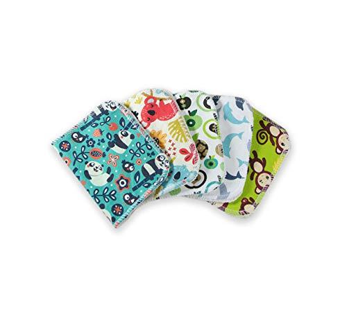 Petit Lulu Lignettes en tissu 5 Pack | Fluffy Organic | Lot Gant de Toilette | Jersey de coton et...