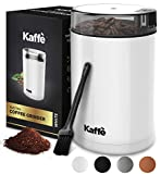 Kaffe Electric Coffee Grinder - White - 3oz Capacity with Easy On/Off Button. Cleaning Brush Included!