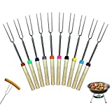 SPOKKI Roasting Sticks with Wooden Handle 10 Pieces BBQ Forks Barbecue Forks Set Marshmallow Roasting Sticks Telescoping Sticks for Campfire Fire Pit Cooking