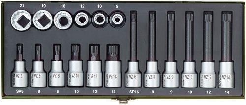 Proxxon 23296 Spezial-Steckschlüsselsatz für Vielzahnschrauben XZN, 18-teilig