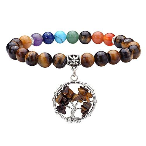 Pulsera de mujer con piedras semipreciosas que representan los 7 chakras para sanación, terapia energética, amuleto de la suerte,