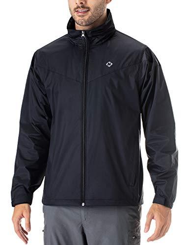 NAVISKIN Rain Jacket Veste de Pluie Blouson Léger,Pluie Imperméable avec Capuche cachée,Emballable,Matériau Nylon,pour de Camping, Voyage, Activités en Plein Air, Moto/vélo pour Hommes Noir Taille S