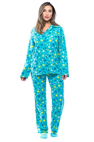 6370-10239-3X #FollowMe Printed Microfleece Button Front PJ Pant Set with Socks,Blue - Starry,3X Plus