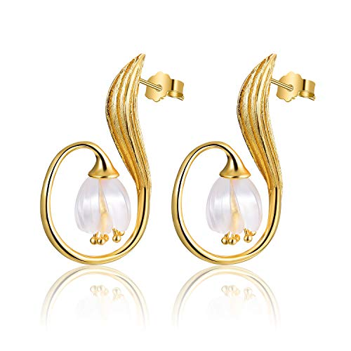 Lotus Fun S925 Orecchini in argento Sterling con cristalli di lilla naturale dei sogni orecchini creativi fatti a mano naturale gioielli unici per donne e ragazze.