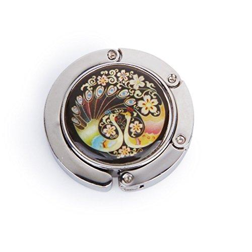 Topways® Peacock Bolso de diseño Bolso Plegable Gancho Titular de la Bolsa Bolso Gancho Redondo Plegable con