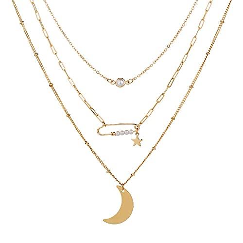 Collar de mujer en capas vintage fina cadena estrella luna colgante collar collar