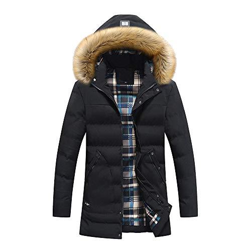 Zarupeng heren winterlaag katoenen mantel met afneembare hoed en ritssluiting slim bontkraag hooded gewatteerde jas dikke jas jas jas top