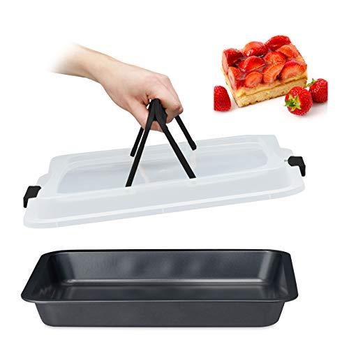 Relaxdays Backblech mit Deckel, 3in1 Kuchen Transportbox, 40 x 32,5 cm, hoher Rand, Kuchenblech rechteckig, schwarz/grau