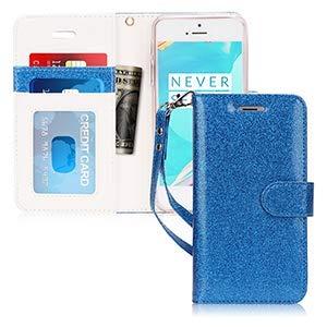 FYY Cover iPhone Se, Cover iPhone 5S, Cover iPhone 5, Flip Custodia Portafoglio Libro Pelle PU con Porta Carte e Chiusura Magnetica per iPhone Se / 5S / 5 -Bling Glitter Blu