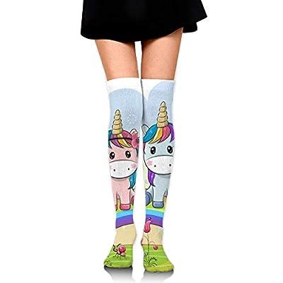 not applicable Calcetines de tubo hasta la rodilla para niñas estampados de unicornio arcoiris lindo para mujer sobre muslo medias largas