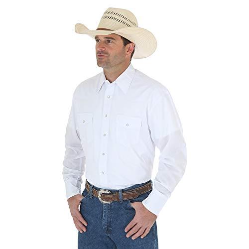 Deporte occidental manga larga camisa Wrangler hombres, blanco, grande
