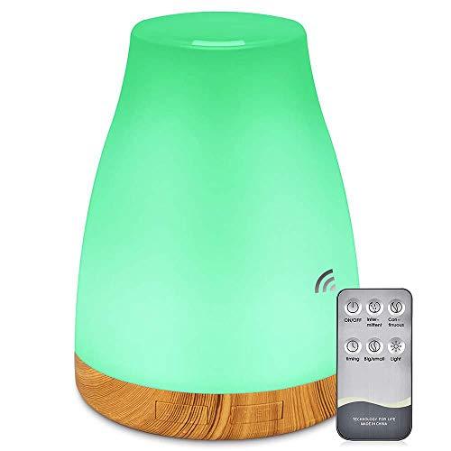 ZOESON Diffusor Aromatherapie, Aroma Diffuser mit 7 Farben LED, BPA-Frei für ätherische öle, luftbefeuchter ultraschall für Schlafzimmer (300ML)