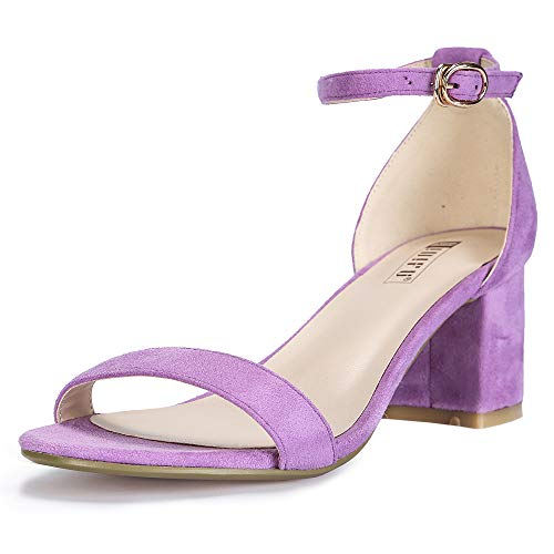 IDIFU Women's Cookie-LO Low Block Heels Chunky Sandals Ankle Strap Wedding Dress Pump Shoes(Lavender Suede, 9)
