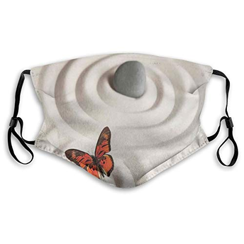 Revêtements de visage tendance impression 3D réutilisables lavables, zen Rock sur le sable, papillon, sérénité, cycle de vie, méditation, bandanas respirants