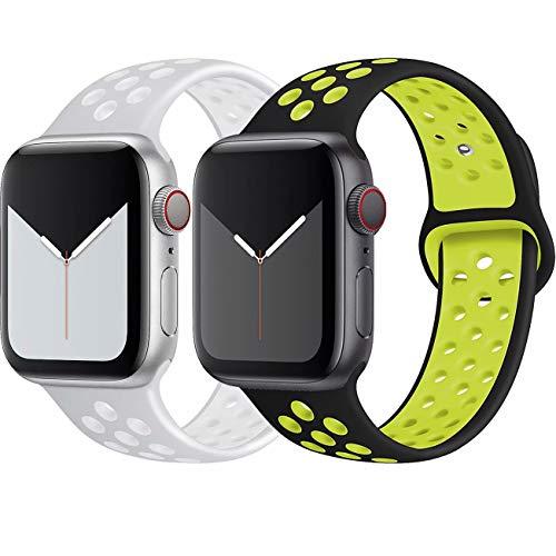 INZAKI Kompatibel mit Apple Watch Armband 38mm 40mm,weich atmungsaktives Silikon Sport Ersatzband für Armband für iWatch Serie 5/4/3/2/1,Nike+,Sport,wasserdicht,S/M,BlackVolt/SilverWhite