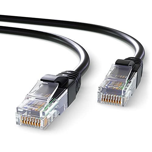 Mr. Tronic 5m Cable de Red Ethernet Trenzado   CAT6, CCA, UTP   Conectores RJ45   LAN Gigabit de Alta Velocidad   Conexión a Internet   Ideal para PC, Router, Modem, Switch, TV (5 Metros, Negro)